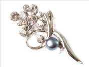 Sweet & Happy Girl'S Store 7-8mm Black Cultured Pearl Gold Plated Flower Brooch 22X40mm