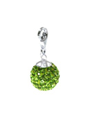 "Charms pendant ""Diamondball"" 14mm – colour peridot – bling bling!! with sterling silver carabiner – packed inside a lovely pouch – looks great with a neck chain"