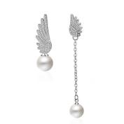925 Sterling Silver Plated Vintage CZ irregular tassel Elf Angel Wings With Pearls Women Dangle Drop Earrings