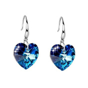925 Silver Plated Austrian Crystal Blue Simulated Sapphire Heart Womens Tear design Hook Dangle Drop Earrings