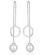 Infinite U 925 Sterling Silver Pearl Ring Drop Long Dangle Threader Pull Through Box Chain Earrings for Women/Girls, Silver