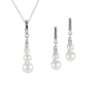 Bella Pearls Sterling Silver Freshwater Pearl Graduated Drop Earrings and Matching Necklace Set