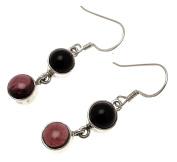 Gemstone Jewellery Garnet Gemstone Black Onyx Stone Onyx Earrings Garnet Earrings