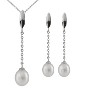 Bella Pearls Set of Freshwater Pearl Sterling Silver Drop Earrings and Necklace