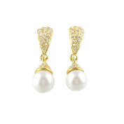 Mytoptrendz® Gold Tone Crystal Studded Earrings with Pearl Drop Fashion Earring Bridal Jewellery