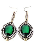 Emerald Crystal Oversized Drop Hook Earrings Statement Cocktail Party Style (Supplied in a Gift Pouch) Unique Fashion Jewellery Lead Free, Nickel Free.