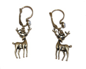Vintage Style Antique Bronze Red Deer Earrings with Faux Pearls (Supplied in a Gift Pouch) Unique Jewellery
