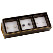 Bella Pearls Freshwater Pearl and Cubic Zirconia Sterling Silver Stud Earrings - Set of 3 Pairs