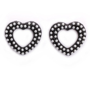 . Metal Black Open Hearts Stud Earrings / Jewellery with Synthetic Grey Pearls