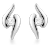 Carissima Gold 9 ct White Gold Swirl Diamond Detail Stud Earrings