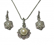 Silver Crystal Diamante Pearl Necklace Earrings Set Prom Bridal Wedding Flower Dress Jewellery for Women Girls