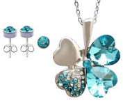 Clover Crystal SET of Pendant and Earring - Aquamarine -Cute Matching set hand polished and hand finished to a high jewellery quality finish