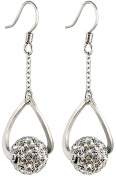 Silver dangling 10MM crystal ball earrings - crystals - bling bling!!