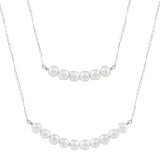 Bella Pearls Double Strand Pearl Sterling Silver Necklace of Length 40 cm
