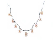 "925 Sterling Silver 18"" 8-9mm AAA Real Cultured Pink Freshwater Tear Drop Pearl Necklace Gift Present"