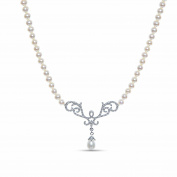 925 Sterling Silver Necklace with Cultured Freshwater Pearls and Created Sapphire