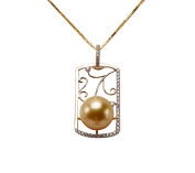 JYX 14K Gold 11mm Golden South Sea Pearl Pendant Necklace