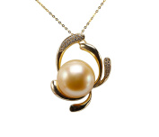 JYX 14K Gold 15.5mm Golden South Sea Pearl Pendant Necklace