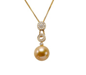 JYX 18K Gold 14mm Golden Round South Sea Pearl Pendant Necklace with Diamonds