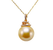 JYX 14K Gold 14.5mm Golden South Sea Pearl Pendant Necklace