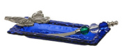 Blue Bubble Glass Butterfly Tidbit Plate with Beaded Spreader