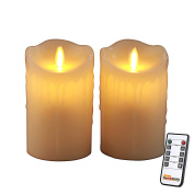 Homemory Pack of 2 Flameless Pillar Candle, Remote Control, 2/4/6/8Hours Timer, Dimmer, Candle/Light Mode, 13cm Ivory Wax LED Fake Candle with Flickering Flame for Wall Sconce, Church, Fireplace