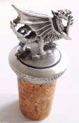 Wales Welsh Dragon Cork & Pewter Wine Spirits Bottle Stopper Stop
