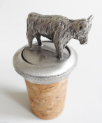 Highland Cow Scottish Scotland Cork & Pewter Wine Spirits Bottle Stopper Stop