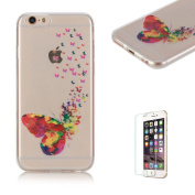 For iPhone 6 6S Case 12cm Cover [with Free Screen Protector], Funyye Fashion lovely Lightweight Ultra Slim Anti Scratch Transparent Soft Gel Silicone TPU Bumper Protective Case Cover Shell for iPhone 6/6S-Butterfly