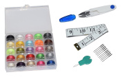 Antkits 25 Pcs Bobbins and Sewing Thread with Case for Brother Singer Babylock Janome Kenmore (Assorted Colours) + 10 Universal Machine Needles + 1 Scissor(Random Colour) + 1 Soft Measuring Tape