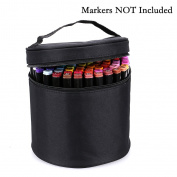 BTSKY Multifunction Marker Case -- Zippered Canvas Pen Bag Pencil Case Stationary Storage for 80 Markers, Black