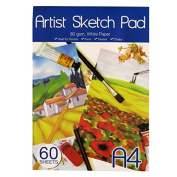 A4 Artist's Drawing and Sketching Notepad - 60 Sheets - 80gsm White Art Paper