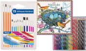 Watercolour Pencils 24 pack tin & 15 Paint Brushes Art Supplies Kit