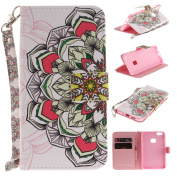 EC-touch Simple Beautiful Colourful Flower [Magnetic] Style PU Leather Case Wallet Flip Stand [Flap Closure] Cover for Huawei P10 LITE