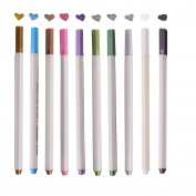 Metallic Marker Brush Pens,SAYEEC 10 Assorted Colours Water Based Ink Colour Painting Marker Brush Tip Pen for Greeting/Gift Card/DIY Photo Album/Glass/Bottle/Wood/Any Surface
