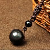 SOURBAN Natural Stone Pendant Necklace Male & Female Black Rainbow Obsidian Eye Transfer Lucky Love Necklace & Pendant