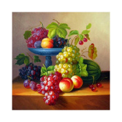 5D DIY Diamond Painting,Flower Cross Stitch Cutlery Fruit Grape Diamond Stick Drill Drawing 3D Square Full Diamond Embroidery