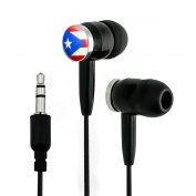 Puerto Rico National Country Flag Novelty In-Ear Earbud Headphones - Black