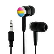 Pansexual Pansexuality Pride Flag Novelty In-Ear Earbud Headphones - Black