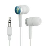 Cactus Succulent Desert Plant Flowering on Blue Novelty In-Ear Earbud Headphones - White