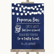 Navy Blue Watercolour Lights Popcorn Bar Personalised Wedding Sign