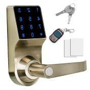 Think Sogood - Touchscreen Keyless Password Lever Door Lock, Remote control + Password + Card + Metal key, Perfect for Office & Home
