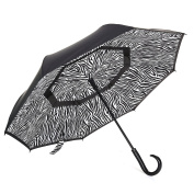 Barasol Compact Reverse Travel Umbrella Waterpoof Windproof Double Canopy Auto Open Close
