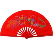 KIKIGOAL Bamboo Chinese Kungfu Dragon Folding Dancing Exercise Hand Fan Dragon And Phoenix
