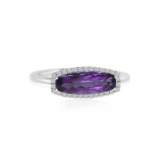 14K White Gold Elongated Baguette Amethyst and Diamond Ring