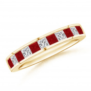 Channel Square Ruby and Diamond Half Eternity Band