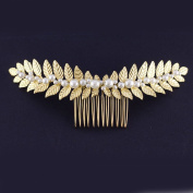 FXmimior Bridal Women Gold Leaves Vintage Wedding Party Crystal Rhinestone Hair Comb Hair Accessories Wedding Headpiece