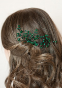 FXmimior Bridal Women Green Vintage Wedding Party Crystal Rhinestone Vintage Hair Comb Hair Accessories