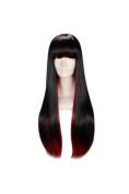 60cm Straight Multi - Colour Black & Red Flat Bang Lolita Cosplay Wig Ayamo by Tengs