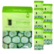 [ 10 Packs ] Farm Stay Deep Moisturising Rich Cucumber Visible Face Facial Mask Sheet 23ml/0.78 fl.oz